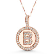 "Cubic Zirconia Crystal Pave Initial Letter ""B"" & Halo Round Disc Pendant in Solid 14k Rose Gold - BD-IP3-B-DiaCZ-14R"