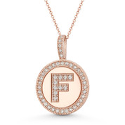 "Cubic Zirconia Crystal Pave Initial Letter ""F"" & Halo Round Disc Pendant in Solid 14k Rose Gold - BD-IP3-F-DiaCZ-14R"