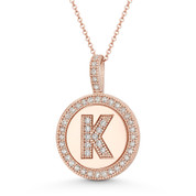 """Cubic Zirconia Crystal Pave Initial Letter """"K"""" & Halo Round Disc Pendant in Solid 14k Rose Gold - BD-IP3-K-DiaCZ-14R"""