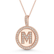 "Cubic Zirconia Crystal Pave Initial Letter ""M"" & Halo Round Disc Pendant in Solid 14k Rose Gold - BD-IP3-M-DiaCZ-14R"