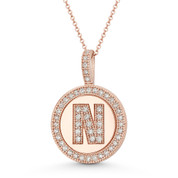 "Cubic Zirconia Crystal Pave Initial Letter ""N"" & Halo Round Disc Pendant in Solid 14k Rose Gold - BD-IP3-N-DiaCZ-14R"