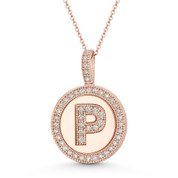 "Cubic Zirconia Crystal Pave Initial Letter ""P"" & Halo Round Disc Pendant in Solid 14k Rose Gold - BD-IP3-P-DiaCZ-14R"