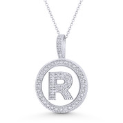 "Cubic Zirconia Crystal Pave Initial Letter ""R"" & Halo Round Disc Pendant in Solid 14k White Gold - BD-IP3-R-DiaCZ-14W"