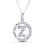 "Cubic Zirconia Crystal Pave Initial Letter ""Z"" & Halo Round Disc Pendant in Solid 14k White Gold - BD-IP3-Z-DiaCZ-14W"