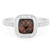 2.27ct Checkerboard Garnet & Round Cut Diamond Pave Halo-Design Ring in 14k White Gold