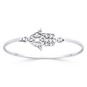 Hamsa Hand & Multi-Heart Evil Eye Charm Cuff Bangle Bracelet in .925 Sterling Silver - ST-BG022-SL