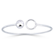 10mm Ball Bead & 13mm Circle Ring Open-Cuff Bangle Bracelet in .925 Sterling Silver - ST-BG025-SL