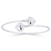 Hollow Double Heart Charm Open-Cuff Bypass Bangle in .925 Sterling Silver - ST-BG026-SL