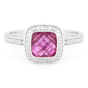 2.37ct Checkerboard Lab-Created Pink Sapphire & Round Cut Diamond Pave Halo-Design Ring in 14k White Gold