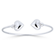 Hollow Double Heart Charm & Ball Bead Open-Cuff Bangle in .925 Sterling Silver - ST-BG027-SL