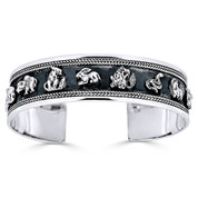 Chinese Zodiac Animal Open Heavy-Cuff Charm Bangle Bracelet in Solid .925 Sterling Silver - ST-BG028-SL