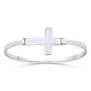 Latin Cross Catholic / Christian Charm Bangle Bracelet in Solid .925 Sterling Silver - ST-BG030-SL