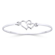 12x16mm Double Heart Charm Closed Cuff Bangle Bracelet in .925 Sterling Silver - ST-BG031-SL