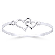 16x24mm Double Heart Charm Closed Cuff Bangle Bracelet in .925 Sterling Silver - ST-BG032-SL