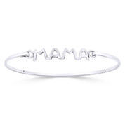 """Mama"" Script Motherhood Charm Closed Cuff Bangle Bracelet in .925 Sterling Silver - ST-BG033-SL"
