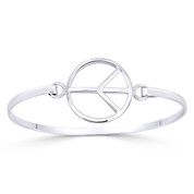 Peace Sign 22mm Circle Charm Bangle Bracelet in Solid .925 Sterling Silver - ST-BG034-SL