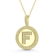 "Cubic Zirconia Crystal Pave Initial Letter ""F"" & Halo Round Disc Pendant in Solid 14k Yellow Gold - BD-IP3-F-DiaCZ-14Y"