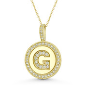 "Cubic Zirconia Crystal Pave Initial Letter ""G"" & Halo Round Disc Pendant in Solid 14k Yellow Gold - BD-IP3-G-DiaCZ-14Y"