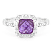 1.56ct Checkerboard Amethyst & Round Cut Diamond Pave Halo-Design Ring in 14k White Gold