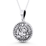 Aquarius Zodiac Sign Circle Astrology Charm Pendant & Chain Necklace in Oxidized .925 Sterling Silver - ST-HCP002-AQU-SLO