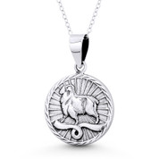 Aries Zodiac Sign Circle Astrology Charm Pendant & Chain Necklace in Oxidized .925 Sterling Silver - ST-HCP002-ARI-SLO