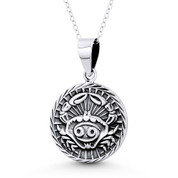 Cancer Zodiac Sign Circle Astrology Charm Pendant & Chain Necklace in Oxidized .925 Sterling Silver - ST-HCP002-CAN-SLO