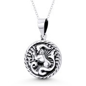 Capricorn Zodiac Sign Circle Astrology Charm Pendant & Chain Necklace in Oxidized .925 Sterling Silver -  ST-HCP002-CAP-SLO