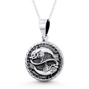Pisces Zodiac Sign Circle Astrology Charm Pendant & Chain Necklace in Oxidized .925 Sterling Silver -  ST-HCP002-PIS-SLO