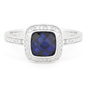 2.44ct Checkerboard Lab-Created Blue Sapphire & Round Cut Diamond Pave Halo-Design Ring in 14k White Gold