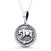 Taurus Zodiac Sign Circle Astrology Charm Pendant & Chain Necklace in Oxidized .925 Sterling Silver -  ST-HCP002-TAU-SLO