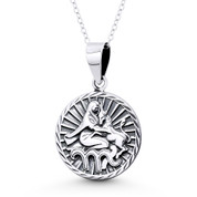 Virgo Zodiac Sign Circle Astrology Charm Pendant & Chain Necklace in Oxidized .925 Sterling Silver - ST-HCP002-VIR-SLO