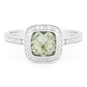 1.57ct Checkerboard Green Amethyst & Round Cut Diamond Pave Halo-Design Ring in 14k White Gold