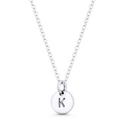 """Initial Letter """"K"""" Engraved Tiny 11x8mm (0.4""""x0.3"""") Circle Pendant in .925 Sterling Silver - ST-IP001-K-SLP"""