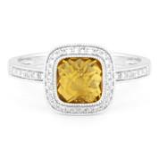 1.56ct Checkerboard Citrine & Round Cut Diamond Pave Halo-Design Ring in 14k White Gold