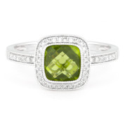 1.79ct Checkerboard Peridot & Round Cut Diamond Pave Halo-Design Ring in 14k White Gold