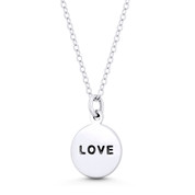 """LOVE"" Script Engraving Circle Flat Disc Pendant in .925 Sterling Silver - ST-FP100-SLP"