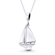 Longbow Sailboat Seafarer Charm Pendant in Oxidized .925 Sterling Silver -  ST-FP112-SLO