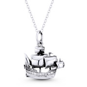 Galleon Ship Seafarer Charm Pendant in Oxidized .925 Sterling Silver - ST-FP114-SLO