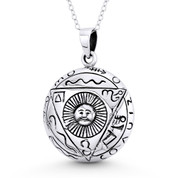 Aztec / Mayan Sun God Charm 33x23mm Pendant in Oxidized .925 Sterling Silver - ST-FP115-SLO