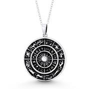 Zodiac Calendar & Sun 33x26mm Circle Charm Pendant in Oxidized .925 Sterling Silver - ST-FP116-SLO