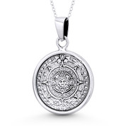 Mayan Calendar & Aztec God Tlaltecuhtli 37x25mm Pendant Necklace in Oxidized .925 Sterling Silver - ST-FP117-SLO