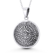 Mayan Calendar & Aztec God Tlaltecuhtli 36x25mm Pendant Necklace in Oxidized .925 Sterling Silver - ST-FP118-SLO