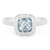 1.89ct Checkerboard Blue Topaz & Round Cut Diamond Pave Halo-Design Ring in 14k White Gold