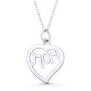 "Heart Charm & ""Mom"" Script Pendant in .925 Sterling Silver - ST-FP132-SLP"
