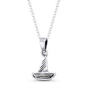 Longbow Sailboat Seafarer Charm 19x12mm Pendant in Oxidized .925 Sterling Silver - ST-FP136-SLO