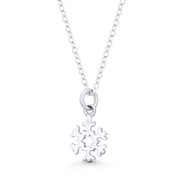 Tiny Snowflake Winter Holiday Charm 16x9mm Pendant in .925 Sterling Silver - ST-FP137-SLP