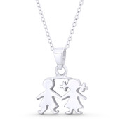 It's a Baby Boy & Girl! Motherhood Celebration Charm 22x18mm Pendant in .925 Sterling Silver - ST-FP140-SLP