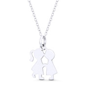 Kissing Boy & Girl! Love Celebration Charm 22x14mm Pendant in .925 Sterling Silver -  ST-FP141-SLP