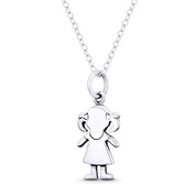 It's a Baby Girl! Motherhood Celebration Charm 23x9mm Pendant in Oxidized .925 Sterling Silver - ST-FP142-SLO