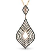 Brown, Black, & White Diamond Pave Drop Pendant & Chain in 2-Tone 14k Rose & Black Gold - AM-DN4359
